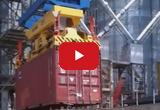 Загрузка зерна в контейнер c помощью опрокидывателя